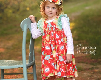Baby Girl Clothes, Toddler Girl Clothes, Red Aqua Yellow Double Flutter Sleeve Vintage Dress Fall in Truly Jane, by Charming Necessities