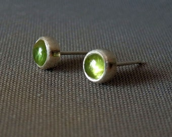 Peridot stud earrings / peridot and sterling earrings / dainty studs / gemstone stud earrings / August birthstone / simple earrings