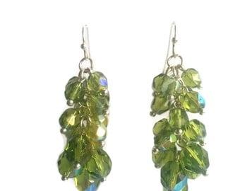Olive Grove - Green Earrings - Czech Bead Cluster Dangle Earrings - Mishimon Designs