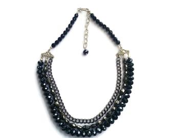 Sorceress – Grey Statement Necklace - Beaded Gemstone 3-Strand Collar - Hematite/Crystal/Chain - Silver/Charcoal/Black – Mishimon Designs