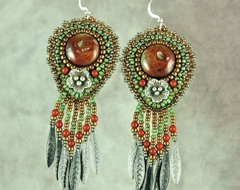 Earrings, Beaded, Red Creek Jasper, Flower,  Bead Embroidered Earrings