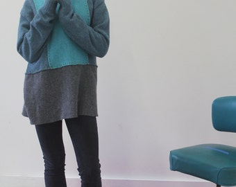 Recycled Sweaters, Wool, Alpaca, Sweater, Crispina Sweater, Hand Sewn, One of a Kind, Pullover, Turquoise, Mid-weight