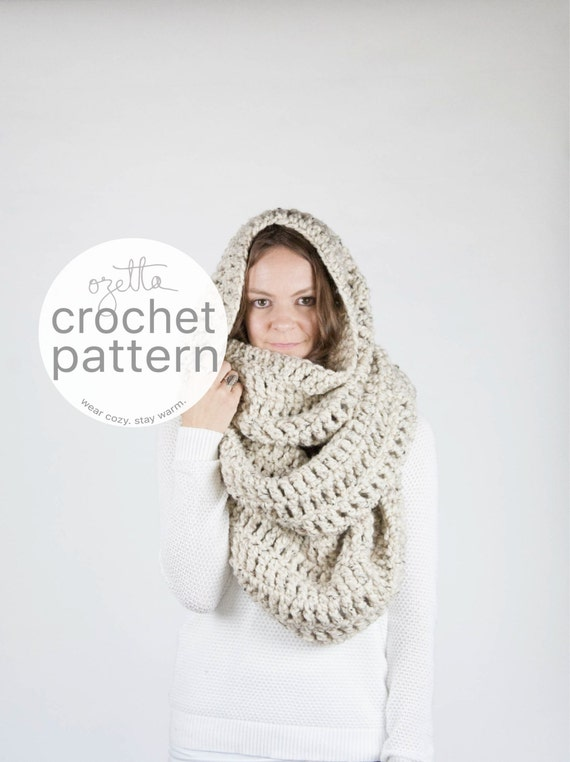Crochet Pattern / Extra Large Blanket Scarf, Huge Chunky Infinity Scarf, Oversized Shawl Hood / THE ALASKAN