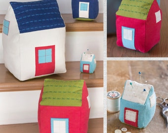 Tiny Stuffed Houses PDF sewing epattern - four sizes - pincushion, door stop or pillows; create gingerbread or haunted house for holidays