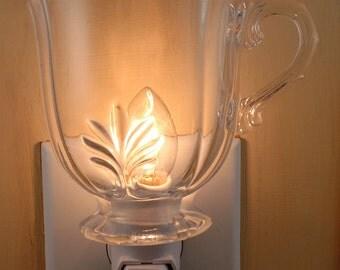 Clear Glass Sugar Bowl With Leaf Pattern & Ornate Handle Custom Made Night Light