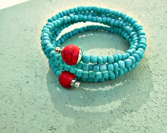 Bracelet, Beaded Memory Wire Wrap Cuff with Turquoise Glass and Red Howlite Stone Accents: Carlsbad