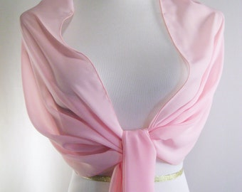 Evening Wrap - Light Pink - Shawl Scarf - Stole - One Shoulder Drape - Light Pink Chiffon - Pashmina - Dressy Wrap - Extra Long