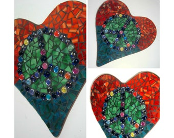 Mosaic Peace Heart Wall Hanging, Mosaic Heart Peace Sign Wall Decor, Peace Love Mosaic Art, Red Blue Green Mosaic Heart, Hippie Mosaic Art