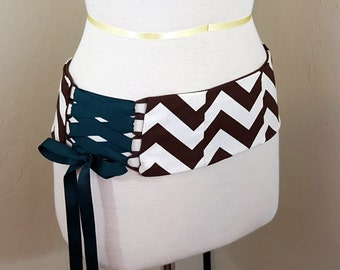 Brown and Ivory Zig Zag Stripe Belly Dance Corset Style Lace Up Belt Shaped to Fit Your Hips