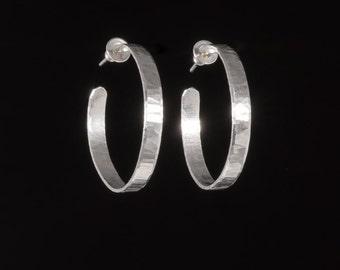 Sterling Silver Hoop Earrings/ Hammered, brushed, wavy silver hoops/ gift for women/ EHWSH-30mm  1.2 inch Diameter.