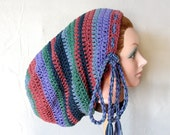Large Crochet Tam Sock Hat for Long Dreads Dreadlocks - Shades of Blue, Purple with Windsor Green and Dusty Rose