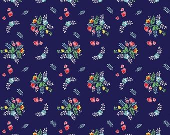 Vintage Market Riley Blake cotton fabric - Vintage Floral VM4564 Navy, select a length