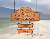 Personalized Wooden Campsite sign with two addon names  - Family Name Sign