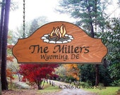 Wood Camping Sign - Colored Campfire Graphic - Custom Family Sign -  Carved Redwood - Dad Gift - JGWoodSigns - Etsy