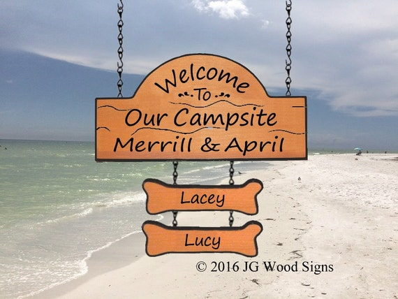 Personalized RV Sign with two addon names - Family Name Sign JG Wood Signs Etsy Carved Camp Sign RV Name Sign