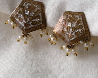 Vintage Champleve Earrings, tiny cultured pearl tassels, clip on