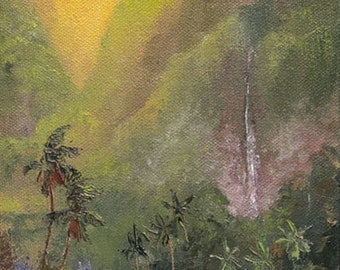 FANTASY FARM 12x6 Original Oil Painting Art Tropical Waterfall Sunrise Paradise Sunset Palm Tree Mountain Barn Cottage House Tropics Meadow