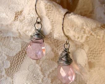 Pink Briolette Wire Wrapped Earrings - Pastel Pink Earrings - Pink Earrings - Pink Jewelry - Wire Wrapped Jewelry - Wire Wrapped Earrings