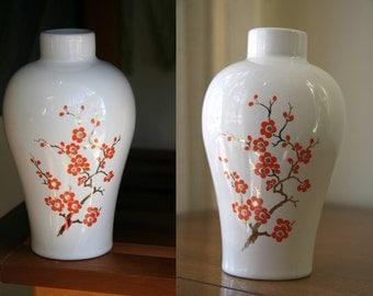 "ORANGE BLOSSOMS: Vintage Avon ""Imperial Gardens"" Ceramic Bud Vase, Atomic Tangerine Flowers on Bonsai Branch, Gold Gilding, Ivory Porcelain"