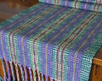 Handwoven Table Runner Home Decor Handmade in USA Green Purple Cotton - Jewel