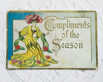Antique Christmas Postcard Art Nouveau Design Woman in Red and Green  Postmark One Cent Stamp Mixed Media Scrapbooking Decoupage Supplies