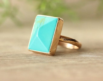 Engagement ring -Gold turquoise ring - 18k gold ring -  blue Turquoise Ring - gemstone ring - bezel set Ring- gift for her