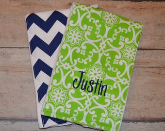Monogrammed Burp Cloth, Boy Burp Cloth, Set of 2, Personalized, Baby Boy Gift,  Newborn Gift, Baby Shower Gift,  Navy and Green, Set of 2