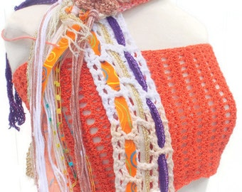 Crochet handmade scarf SPRING TIME cotton variegated  salmon   bohemian line