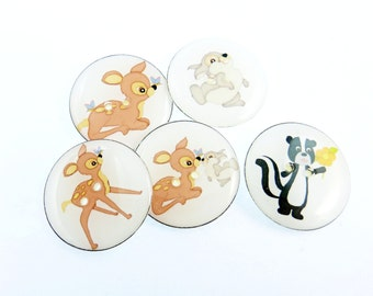 "LARGE Deer and Friends Buttons.  Deer, Skunk, Rabbit.  Children's Sewing Buttons.  1"" or 25 mm Handmade by Me.  Washer and Dryer Safe."