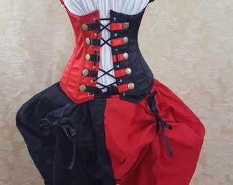 "Steampunk Harley Quinn Corset Queen of Hearts Military Steampunk Corset-to fit 35-38"" natural waist"