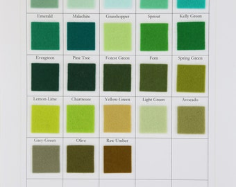 Green Wool Felt, CHOOSE THREE SHEETS,  8  x 12 Inch, 1mm Thick Felt, Merino Wool, Pure Wool Felt