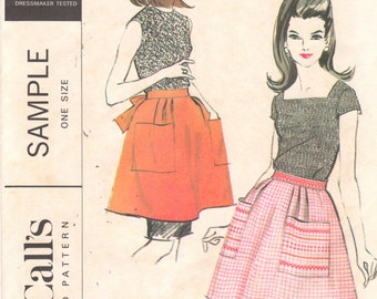 McCalls Sample 1960s Misses Tie Back Short Apron Pattern Easy Hostess Half Apron Cross Stich  Womens Vintage Sewing Pattern One Size UNCUT