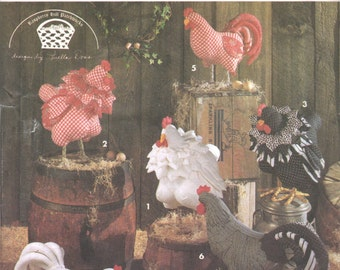 Simplicity 8399  Raspberry Hill Patchworks Soft Sculpture  Rooster  Hen Pattern 17 and 19 Inch Designer Stuffed Animal Sewing Pattern UNCUT