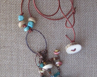Boho Bohemian Hippie Leather Cord Tassel Necklace with Bone and Turquoise Accents