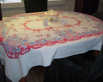 Vintage Tablecloth Colorful Fruit Baskets & Bows
