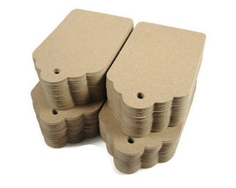 Kraft Tags, Rustic Wedding Tags, Blank Brown Paper Tags - Large 3.5 Inch - Set of 200