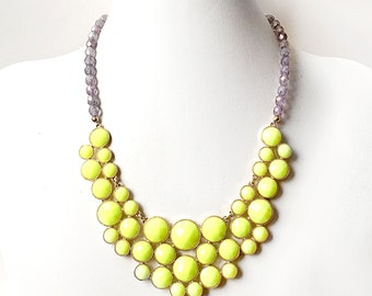 Neon Yellow Statement Bib Necklace - Yellow and Gray Necklace - Bright Beaded Statement Necklace in Gold
