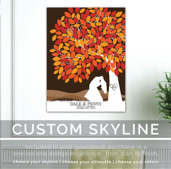 Wedding Tree Guestbook, Personalized Skyline, Silhouette & Initials in tree, A keepsake on canvas or Poster, 100+ Signature // W-T05-1PS HH3