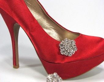 Rhinestone Shoe Clips Brilliant White Rhinestone Cluster 1 Pair Shoe Jewelry for Wedding Prom