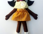"Black Cloth Heirloom Doll, 18"" Rag Doll, soft doll, fabric doll African American Doll, Christmas Doll Gifts Under 75"