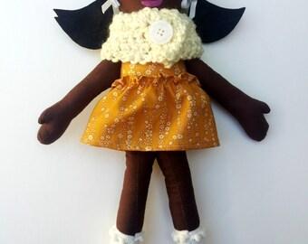 """Black Cloth Heirloom Doll, 18"""" Rag Doll, soft doll, fabric doll African American Doll, Christmas Doll Gifts Under 75"""