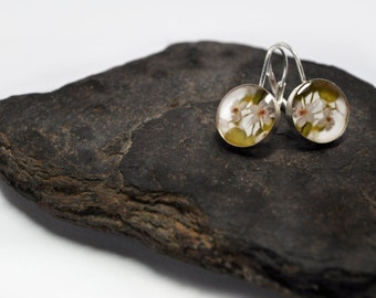 Leverback Earrings- round. sterling silver & photography. Variety of photo options