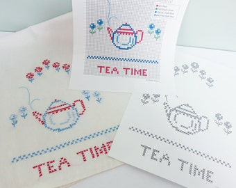 Counted Cross Stitch Embroidery Pattern for a Vintage Tea Time Towel, Red and Blue with Flowers and Teapot