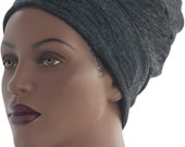 Grey Black Gradient Sweater Knit Hat Chemo Hat Winter Hat Stretch Knit Hat Turban Hat Handmade