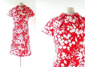 Adele Simpson Dress / 1960s Dress / Red Floral Dress / Large L
