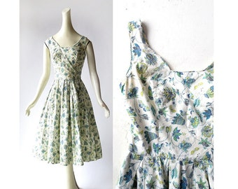 Vintage 50s Dress | Blossom and Butterfly Dress | 1950s Dress | Carolyn Schnurer | XS