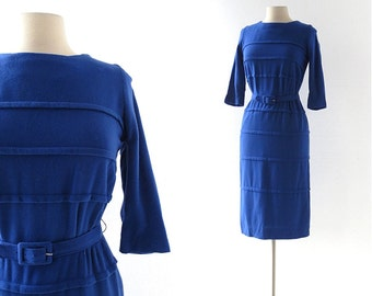 1960s Blue Dress / Sapphire Dress / 60s Dress / Knit Dress / XS S
