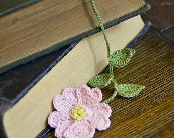 Handmade Crochet Flower Bookmark Pink Primrose