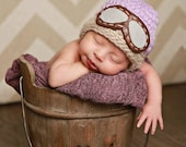 PASTEL newborn pilot hat // newborn photo prop // pink mint purple blue // aviator hat with goggles // aviator baby hat // pilot beanie