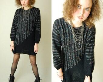 Black Sweater Dress Vintage Black Striped Metallic Draped Sweater Urban Glam Mini Dress  (s m)